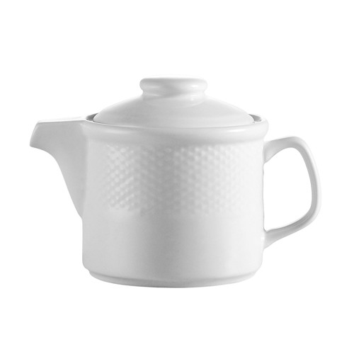 CAC China BST-TP Boston Porcelain Embossed Tea Pot 15 oz. - 3 doz