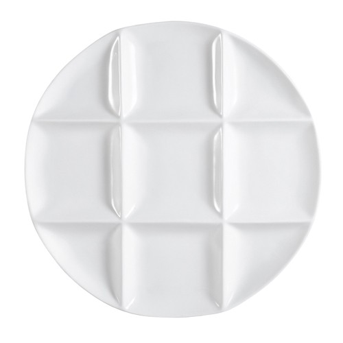 "CAC China CMP-R12 9 Compartment Round Porcelain Tray 12""  - 1 doz"