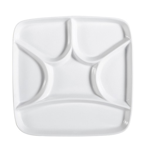 "CAC China CMP-SQ8 Square Crown Porcelain Compartment Tray 8-1/2""- 2 doz"