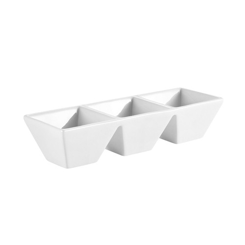 "CAC China CN-3T7 3-Compartment Porcelain Tray  7"" x 2-1/2"" x 1-1/4"" - 2 doz"