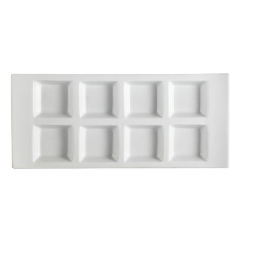 "CAC China CN-8T13 8-Compartment Porcelain Tray  13-1/2"" x 6"" x 1-1/8"" - 1 doz"