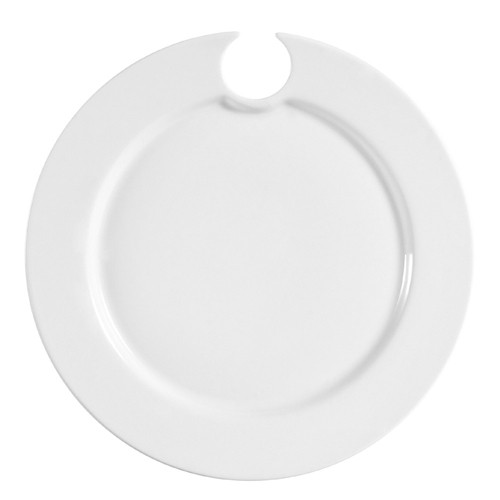 CAC China COL-P8 Party Plate With Glass Cup Hole - 2 doz