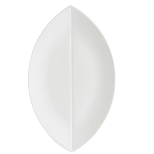 "CAC China COL-V41 Super White Porcelain Flat Leaf Platter 14"" x 8-1/4""  - 1 doz"