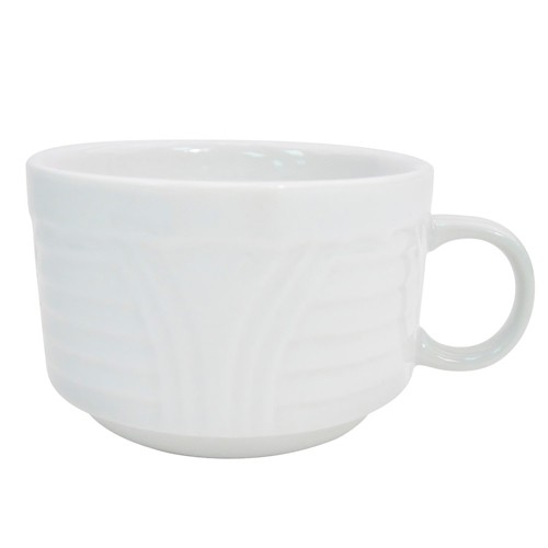 CAC China CRO-1-S Corona Porcelain Embossed Stacking Cup 8 oz. - 3 doz