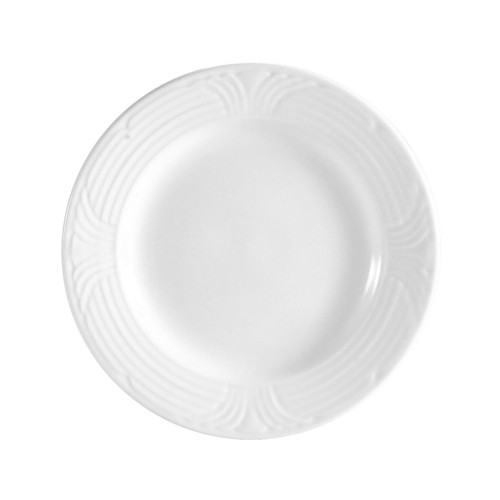 CAC China CRO-16 Corona Porcelain Embossed Plate - 1 doz