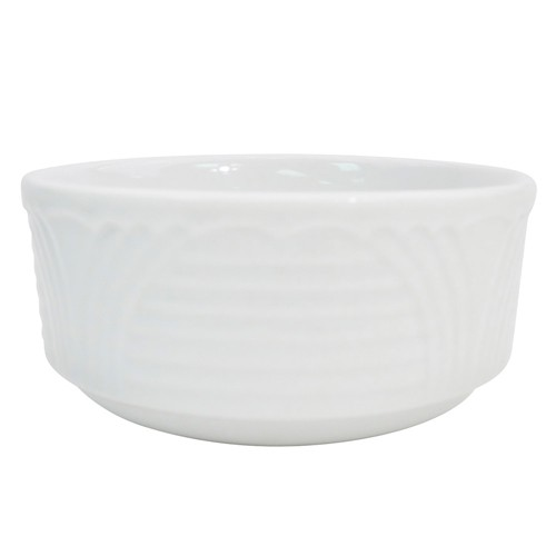CAC China CRO-4 Corona Porcelain Embossed Bouillon 7.5 oz. - 3 doz