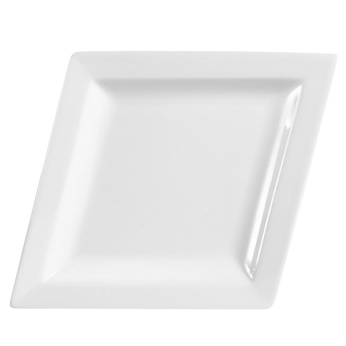 "CAC China  DM-C41 Diamond Porcelain Coupe Platter 14-1/2"" x 11""  - 1 doz"