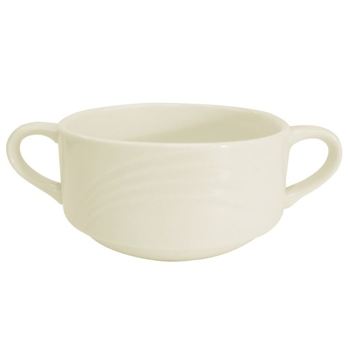 CAC China GAD-46  Garden State Porcelain Embossed Bouillon Bowl with Handles 6 oz. - 3 doz
