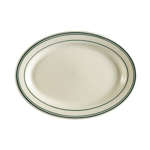 "CAC China GS-33 Greenbrier Oval Platter 7"" x 4-5/8"" - 3 doz"