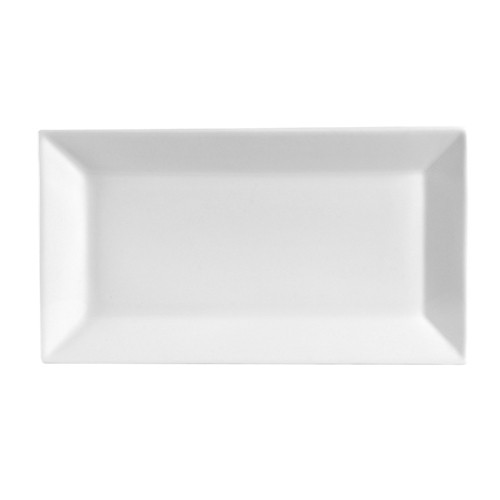 "CAC China KSE-14 Kingsquare Porcelain Rectangular Platter 13"" x 7-1/4"" - 1 doz"