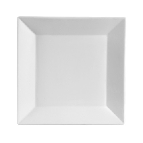 "CAC China KSE-22 Kingsquare Porcelain Square Plate 13-3/4"" - 1 doz"
