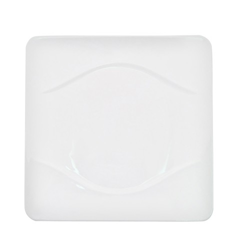 "CAC China MDN-16 Modern White Porcelain Square Plate 10-1/2"" - 1 doz"