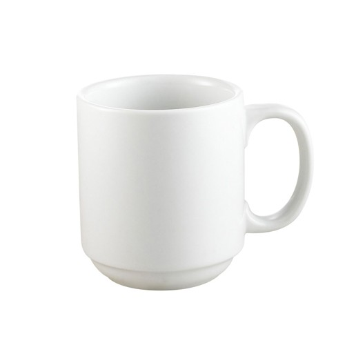 CAC China PRM-10-P Clinton Rolled Edge Prime Stacking Mug 10 oz. - 3 doz
