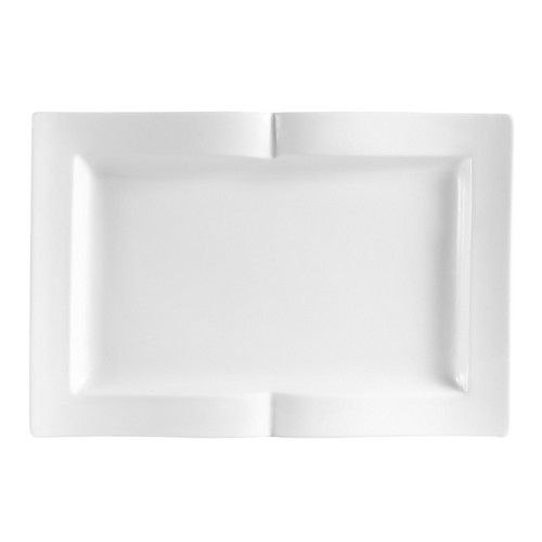 "CAC China GBK-14 Goldbook Porcelain Square Book-Shaped Platter 13-1/2"" x 9-1/8"" - 1 doz"