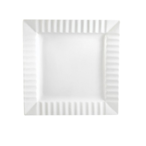 Cac China QE-8 Square Plate With Stripe - 2 doz