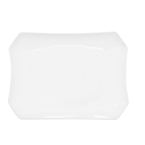 "CAC China RCN-H14 Clinton Rolled Edge Rectangular Porcelain Platter 12-1/2"" x 9-3/4""  - 1 doz"