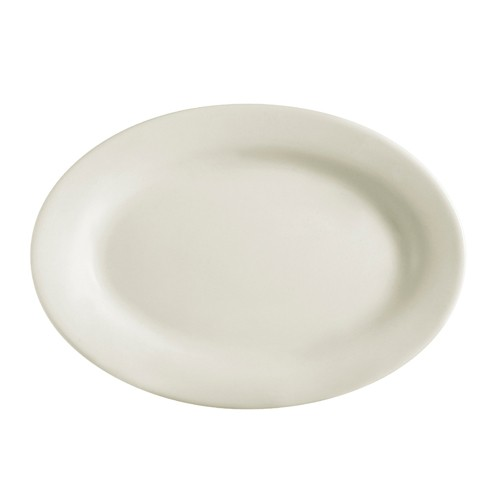 "CAC China REC-14 Rolled Edge Stoneware Platter 12-1/2"" x 8-5/8""  - 1 doz"