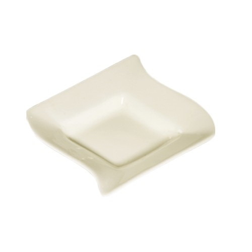 CAC China SOH-11 Soho American White Stoneware Square Fruit Bowl  6 oz. - 3 doz