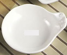 CAC China SOH-43 Soho American White Stoneware Fruit Dish with Handle 4 oz.  - 4 doz