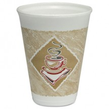Cafe G Hot/Cold Cups, Foam, 12oz, White w/Brown & Red, 20/Bag, 50 Bags/Carton