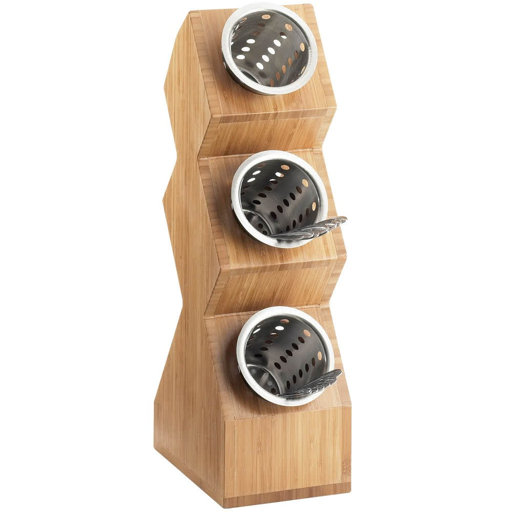 Cal-Mil 1016-3-60 Bamboo Three Cylinder Vertical Condiment Organizer