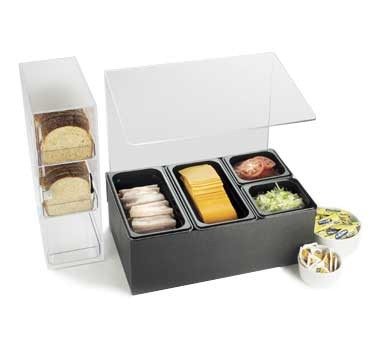 """Cal-Mil 1102 Classic Condiment Bar with Sneeze Guard 20-1/2"""" x 12-3/4"""" x 19-3/4"""""""