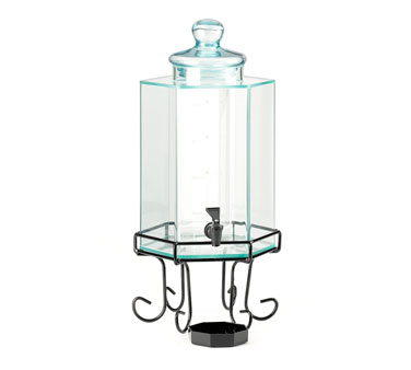 Cal-Mil 1111INF 2 Gallon Octagon Beverage Dispenser With Black Wire Base