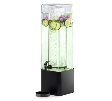 Cal-Mil 1112-3-13 3 Gallon Square Glass Beverage Dispenser With Black Metal Base