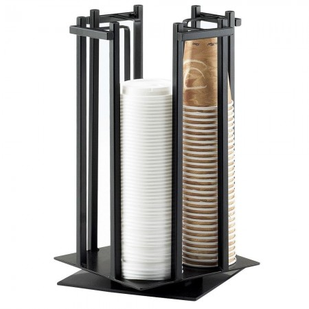 """Cal-Mil 1133-13 Black One By One Revolving Cup / Lid Organizer 10"""" x 10"""" x 15-3/4"""""""