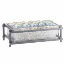 """Cal-Mil 1135-12-74 Silver One by One Ice Housing with Clear Pan 23-1/2"""" x 15-1/2"""" x 7-1/4"""""""