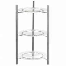 Cal-Mil 1136-10-74 Silver One By One 3-Tiered Plate Display