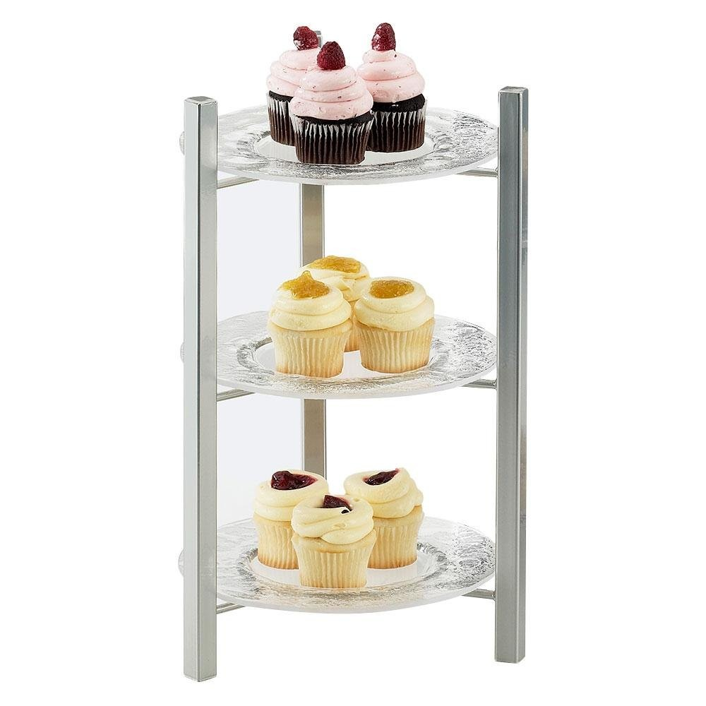 Cal-Mil 1136-8-74 Silver One By One 3-Tiered Plate Display