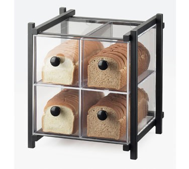 "Cal-Mil 1146-13 Black One by One Four Drawer Bread Display Case 14"" x 14-3/4"" x 15-3/4"""