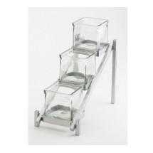 "Cal-Mil 1149-74 Silver One by One Three Tier Jar Display 6-1/4"" x 13-1/4"" x 11-1/2"""