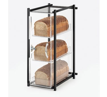"Cal-Mil 1155-13 Black One by One Three Tier Bread Display Case 9-1/2"" x 14-1/2"" x 19-3/4"""