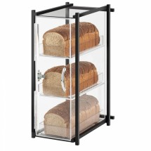 "Cal-Mil 1155-74 Silver One by One Three Tier Bread Display Case 9-1/2"" x 14-1/2"" x 19-3/4"""