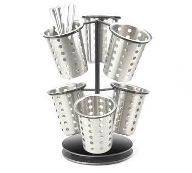 Cal-Mil 1227-13 Six Ring Revolving Black Cutlery Holder