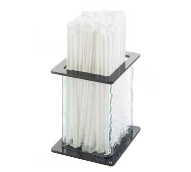 Cal-Mil 1228-4 Aqua Faux Glass Straw Holder