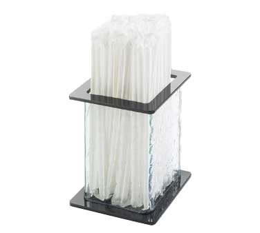 "Cal-Mil 1228-4 Glacier Faux Glass Straw Holder 4-3/4"" x 4-3/4"" x 4-3/4"""