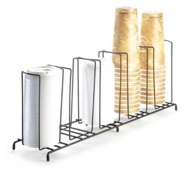 Cal-Mil 1233 5- Slot Black Wire Frame Cup and Lid Organizer