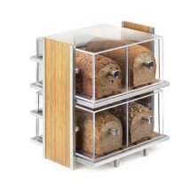 "Cal-Mil 1279 Eco Modern Two Tier Bread Display Case 14"" x 11-1/2"" x 15"""