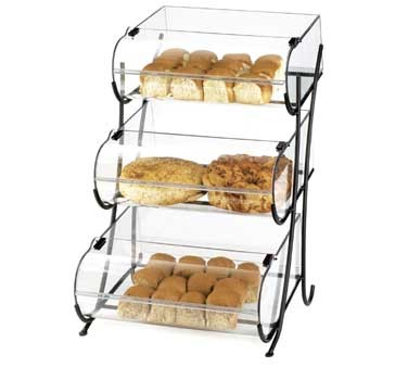 "Cal-Mil 1280-3 Three Tier Black Wire Pastry Display 17-1/2"" x 16-1/2"" x 25"""