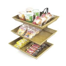 Cal-Mil 1290-3 Three-Tier Wire Merchandiser with Bamboo Trays, 18