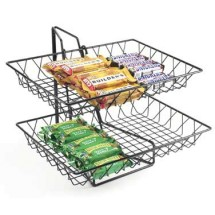 Cal-Mil 1291-2 2 Tier Black Wire Basket Rack, 12