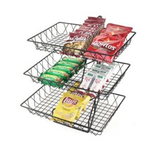 Cal-Mil 1291-3 3 Tier Black Wire Basket Rack, 12