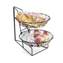 """Cal-Mil 1292-2 Two Tier Merchandiser with Round Wire Baskets 12"""" x 15"""" x 15"""""""