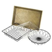Cal-Mil 1292TRAY Black Round Wire Basket 12""