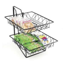 """Cal-Mil 1293-2 Two Tier Merchandiser with Square Wire Baskets 12"""" x 15"""" x 15"""""""