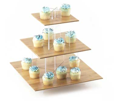 Cal-Mil 1309-60 Small Cupcake Display With Tiered Base, Bamboo Tray