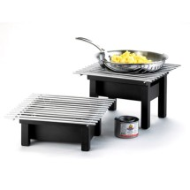 "Cal-Mil 1348-12-13 Black Modern Chafer Alternative with Grill 12"" x 12"" x 4"""